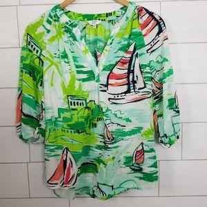 Crown & Ivy Sailboat Top Green Blouse XS Green